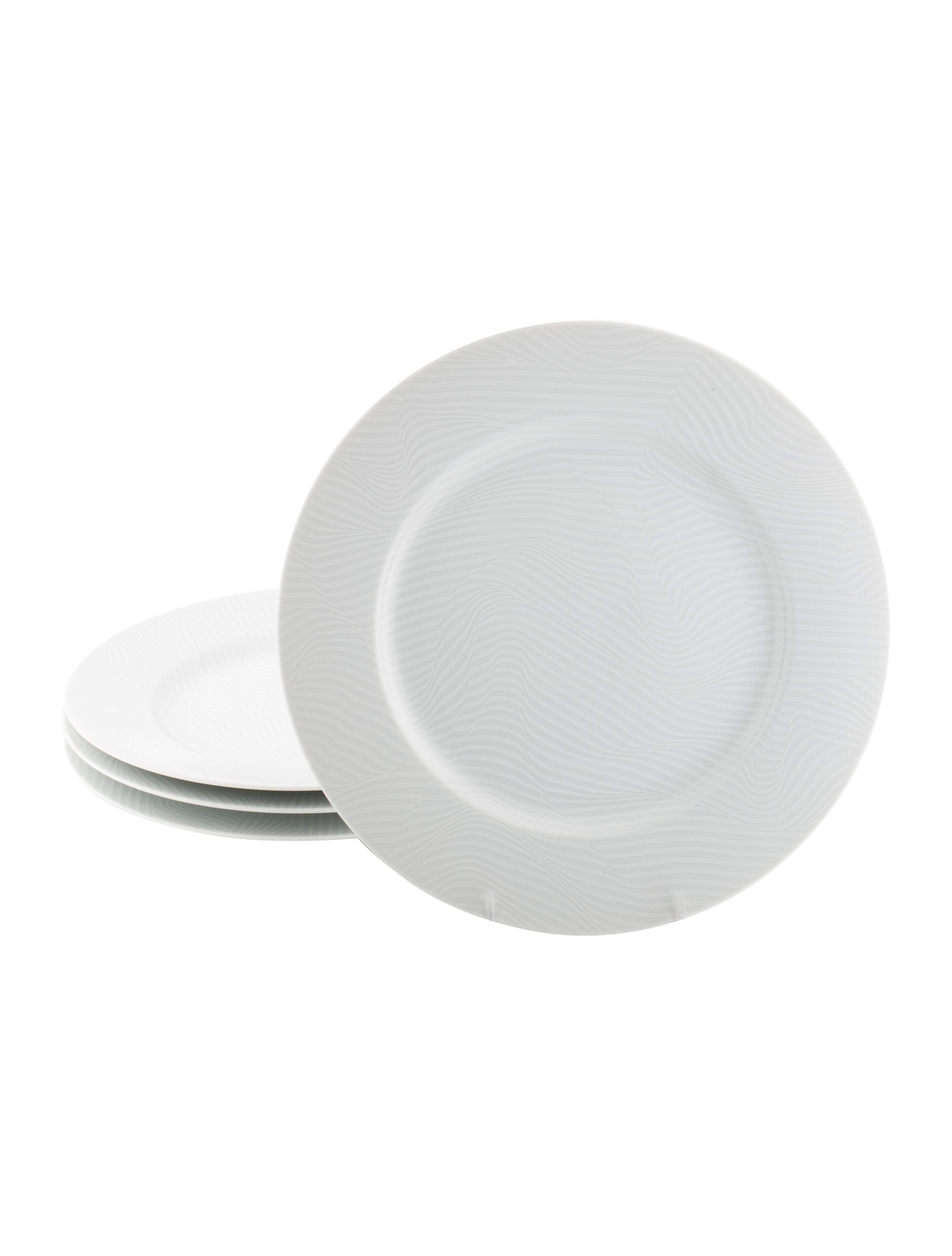 Swid Powell Set of 4 White Stripes Charger Plates - Tabletop And ...