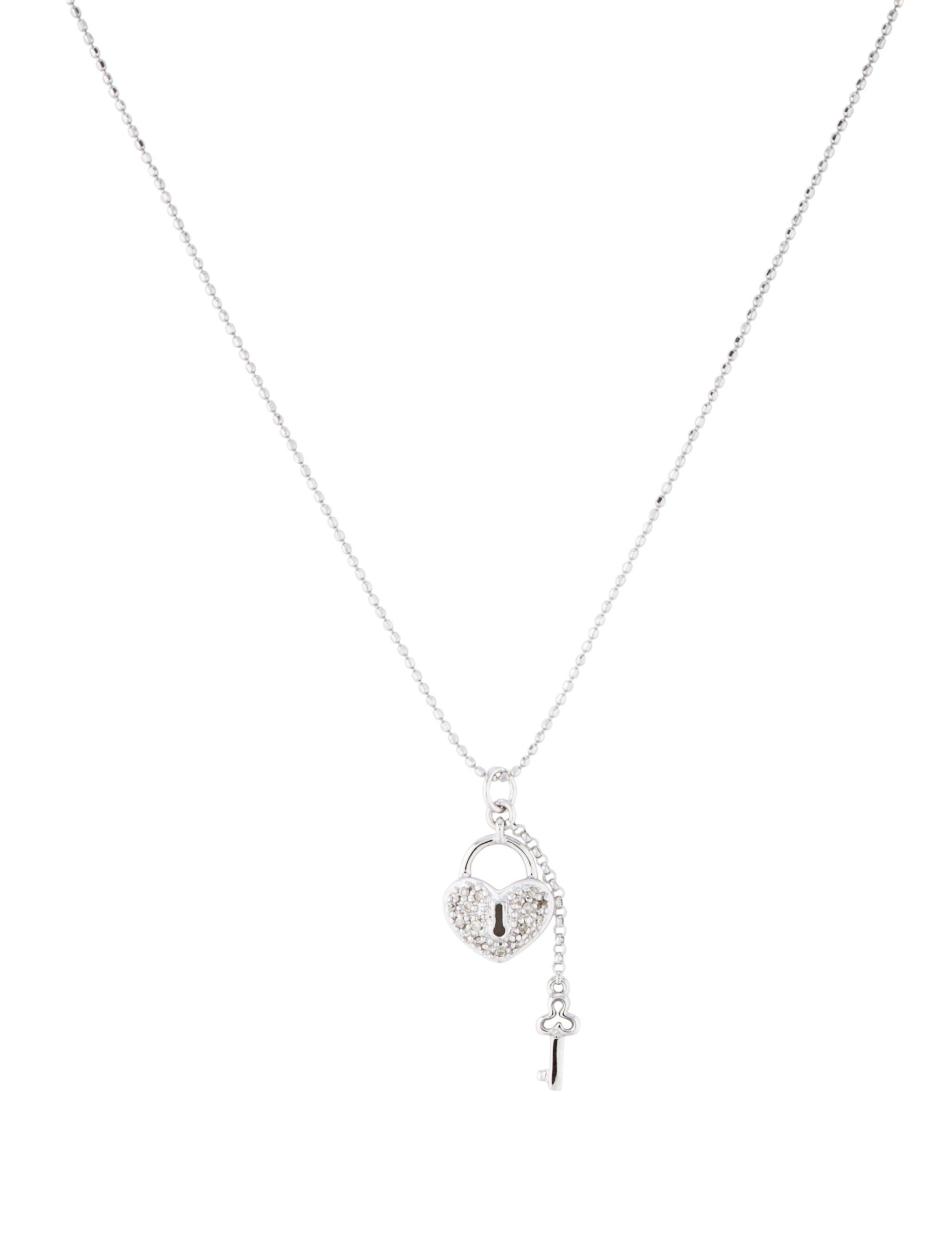 Sydney evan 14k diamond heart lock key pendant necklace 14k diamond heart lock key pendant necklace mozeypictures Images