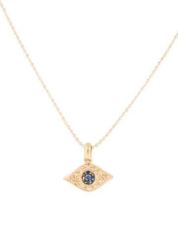 sydney evan diamond sapphire evil eye necklace. Black Bedroom Furniture Sets. Home Design Ideas