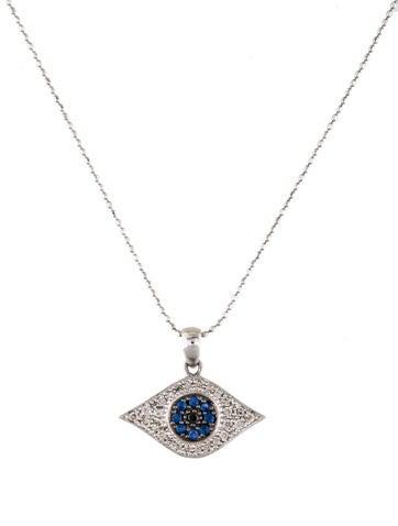 sydney evan 14k diamond sapphire large evil eye necklace. Black Bedroom Furniture Sets. Home Design Ideas