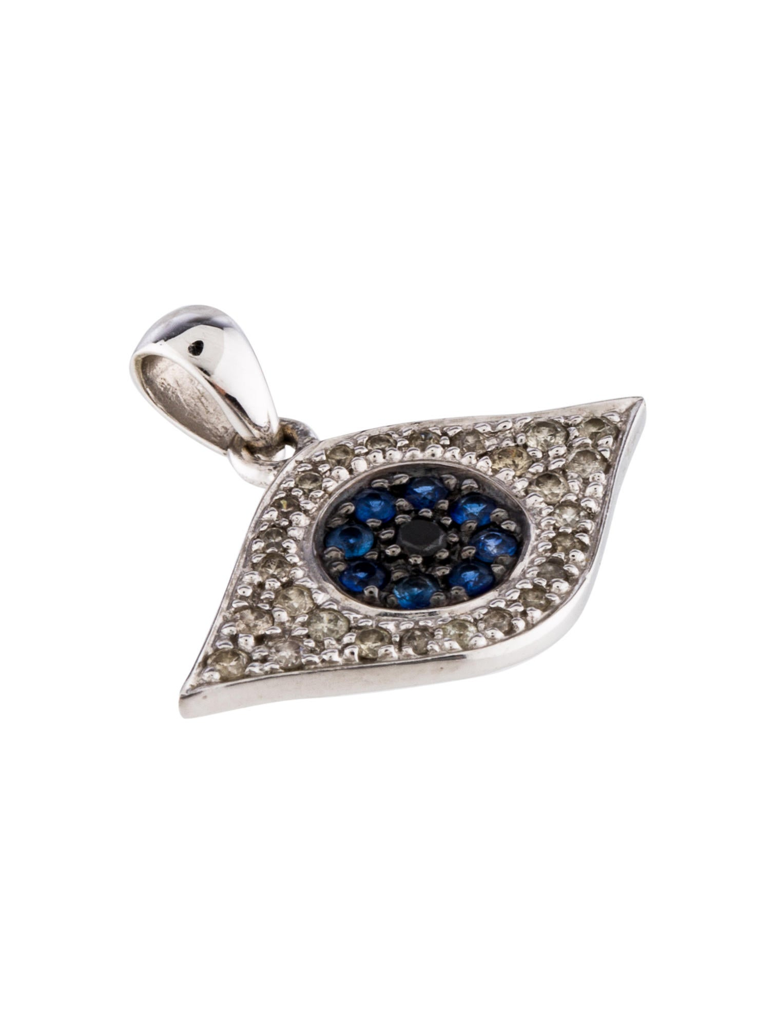 sydney evan 14k diamond sapphire evil eye pendant. Black Bedroom Furniture Sets. Home Design Ideas