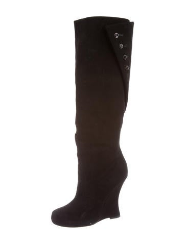 simmons suede knee high wedge boots shoes