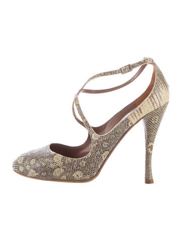 Tabitha Simmons Lizard Round-Toe Pumps None