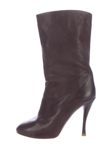 Tabitha Simmons Leather Round-Toe Boots None