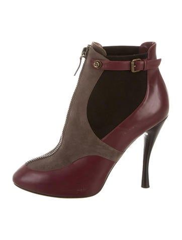 Tabitha Simmons Leather Round-Toe Booties None