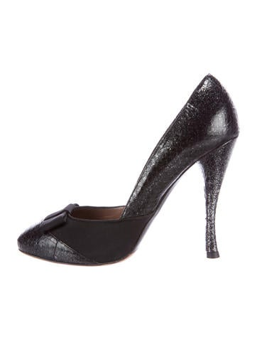 Tabitha Simmons Metallic Bow-Accented Pumps None