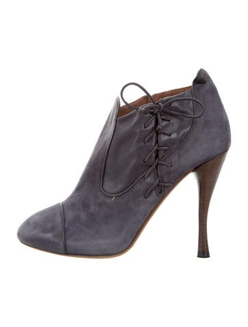 Tabitha Simmons Suede Round-Toe Booties None