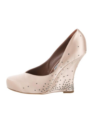 Tabitha Simmons Satin Embellished Wedges None