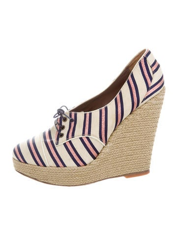 Tabitha Simmons Canvas Platform Wedges None