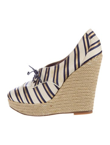 Tabitha Simmons Striped Canvas Wedges None
