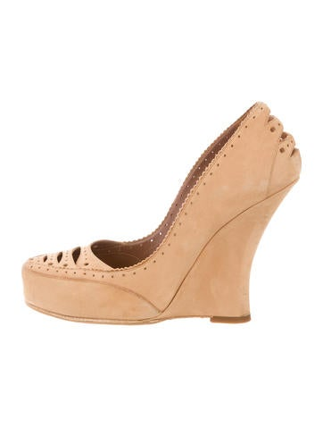 Tabitha Simmons Suede Cutout Wedges None