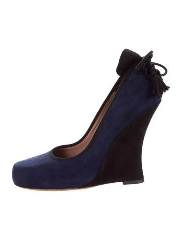 Tabitha Simmons Round-Toe Suede Wedges None