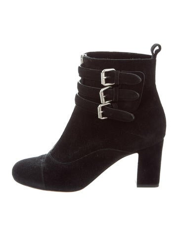 Tabitha Simmons Buckle-Accented Suede Booties None