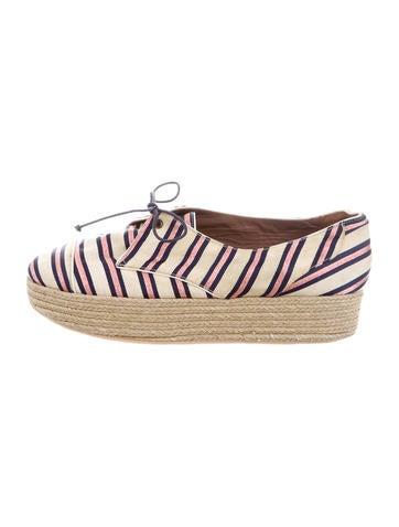 Tabitha Simmons Striped Espadrille Wedges None