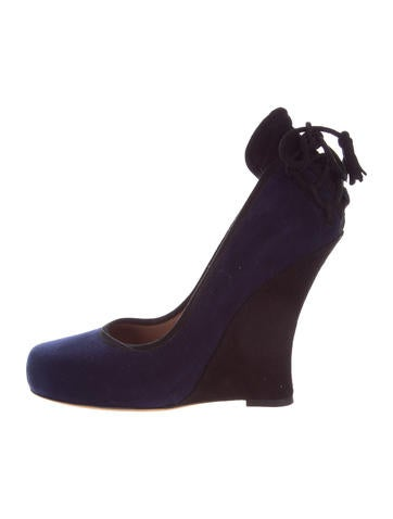 Tabitha Simmons Suede Wedge Pumps None