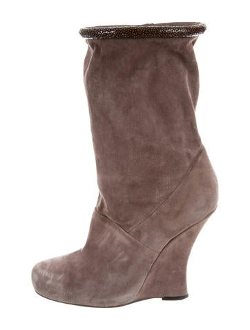 Tabitha Simmons Stingray-Trimmed Wedge Ankle Boots None