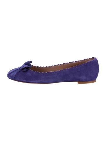 Tabitha Simmons Suede Round-Toe Flats None