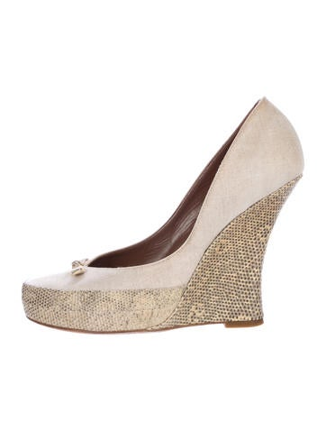 Tabitha Simmons Karung Round-Toe Wedges None