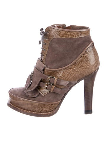 Tabitha Simmons Suede Lace-Up Booties None