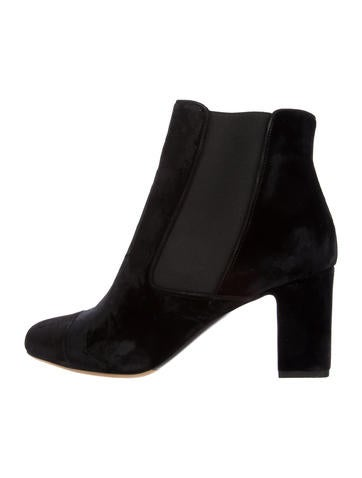 Tabitha Simmons Velvet Round-Toe Ankle Boots None