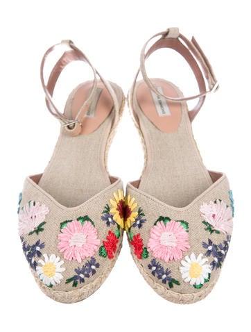 Embellished Raffia Espadrilles