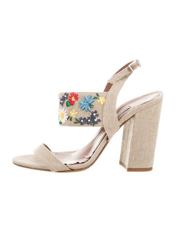6960687c2027 Tabitha Simmons. Embroidered Canvas Sandals. Size  IT 38