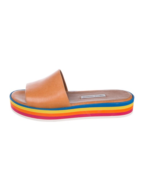 Tabitha Simmons Rainbow-Trimmed Leather Slides