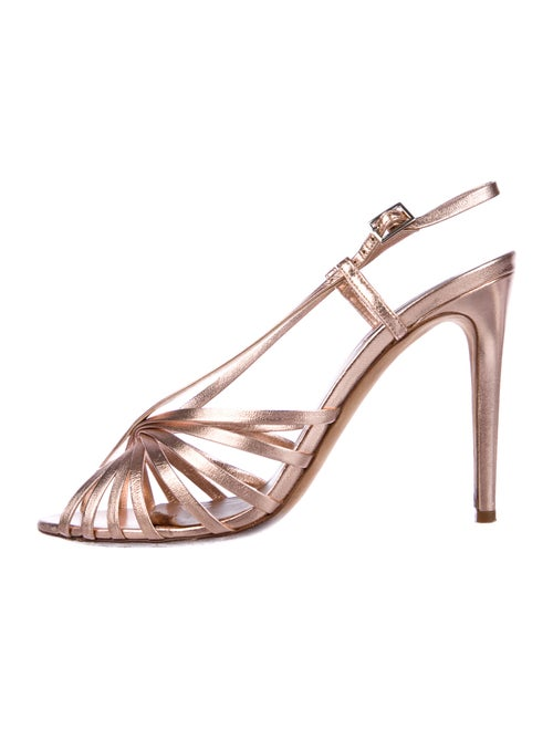 Tabitha Simmons Leather Slingback Sandals Metallic