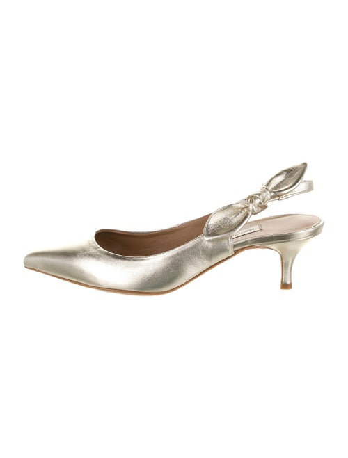 Tabitha Simmons Leather Slingback Pumps Silver