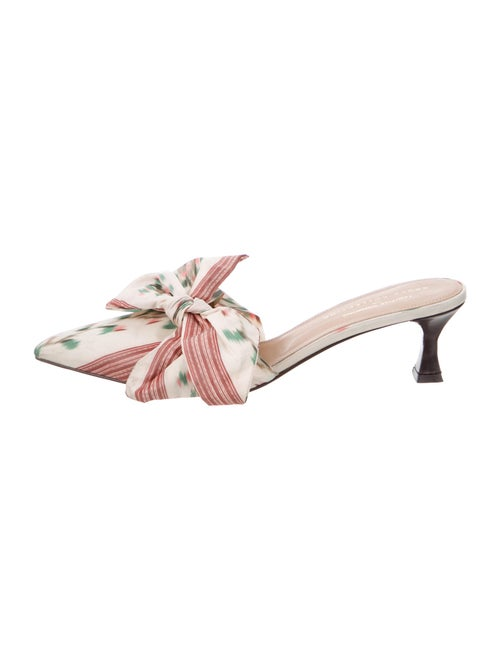Tabitha Simmons Printed Bow Accents Mules White