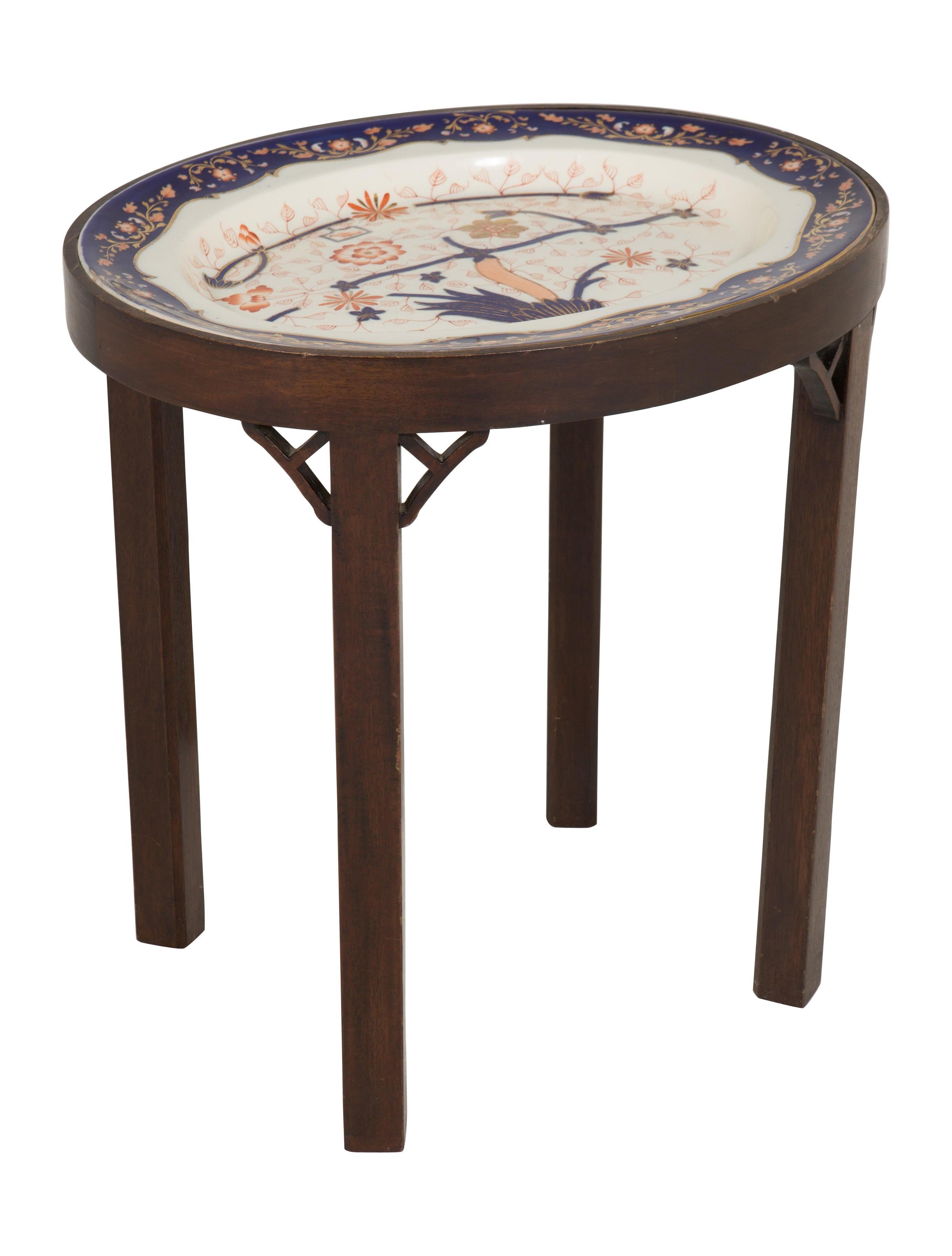 Accent Table W Imari Porcelain Platter Top Furniture