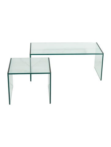 Pair of Glass Side Tables None
