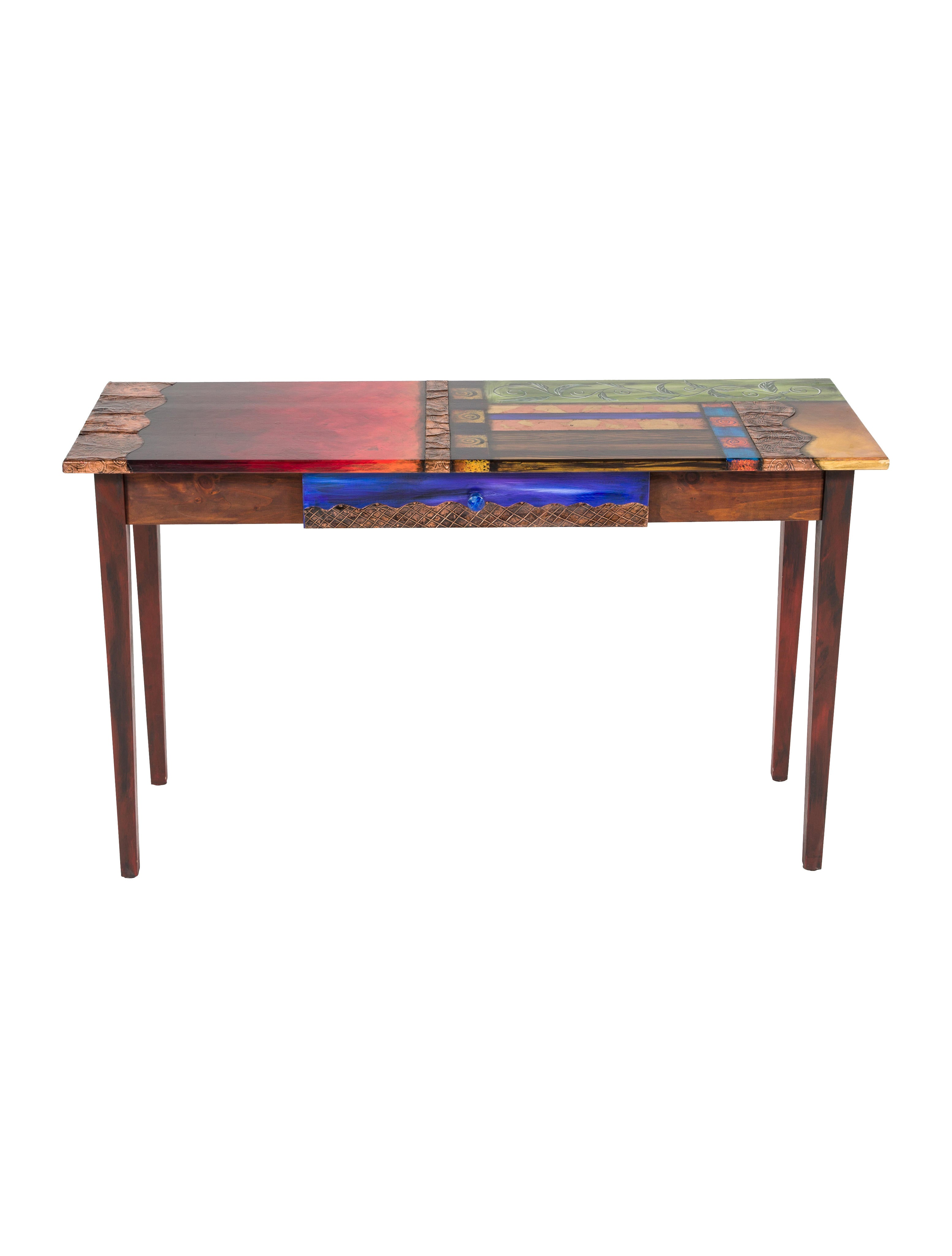 painted console table. hand-painted console painted table