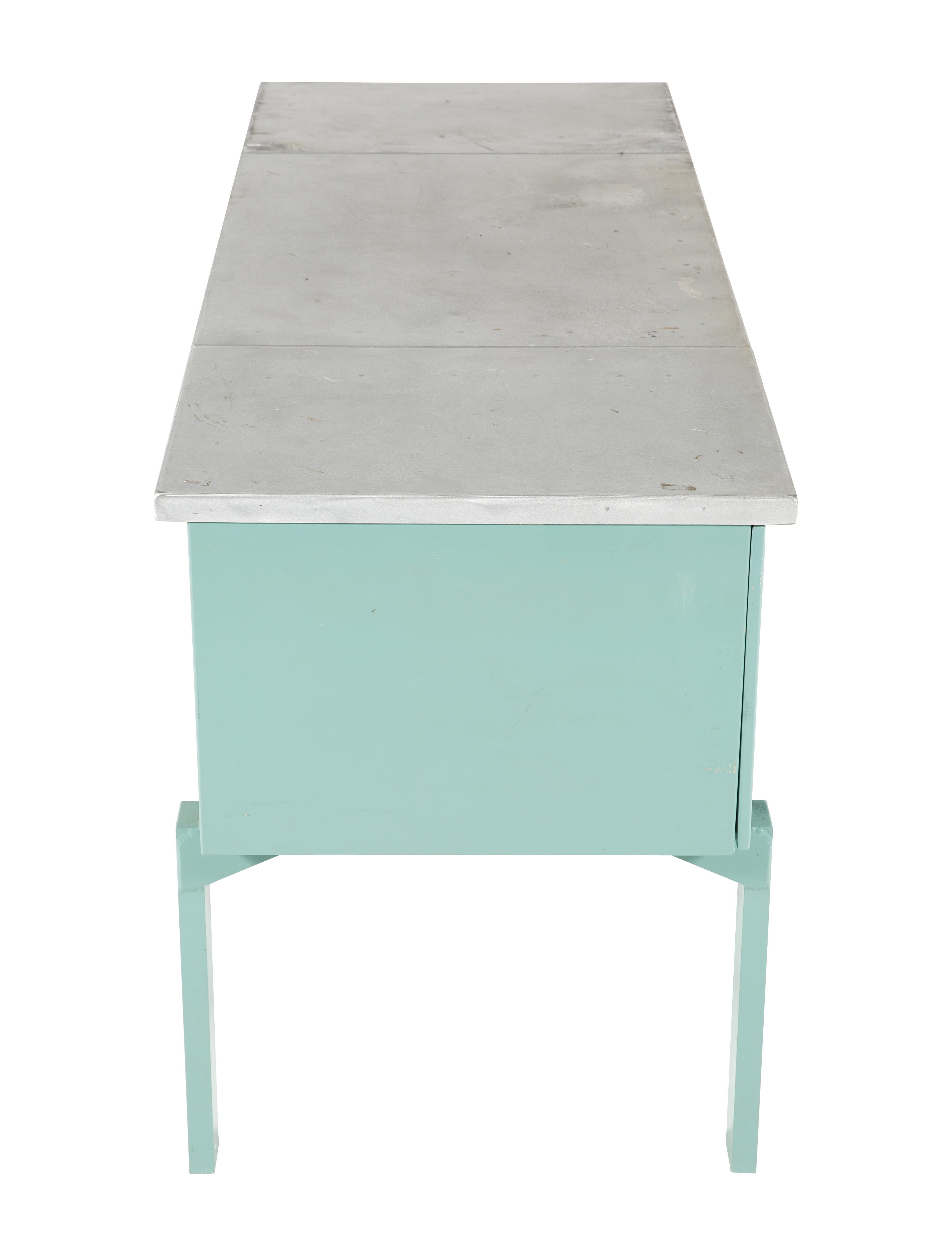Turquoise Painted Metal Desk Furniture Table20448 The Realreal