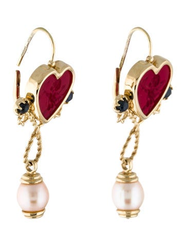 14K Sapphire & Pearl Cupid Heart Cameo Drop Earrings
