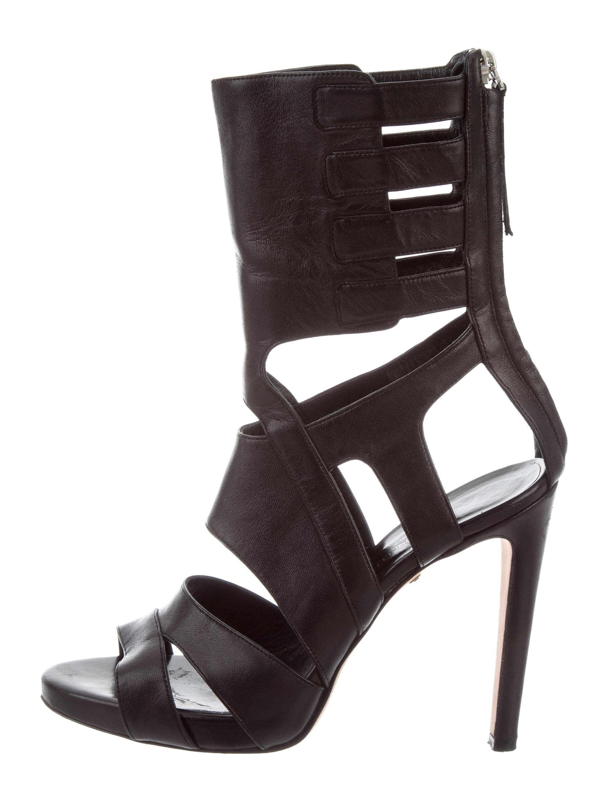Tania Spinelli Leather Caged Sandals outlet discount c4UJGgLS