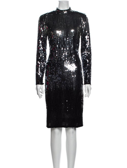 Travilla 1980's Knee-Length Dress Silver