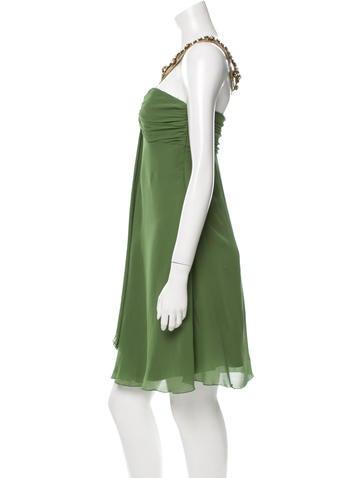 Emebellished Silk Halter Dress