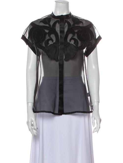 Temperley London Silk Lace Pattern Blouse Black