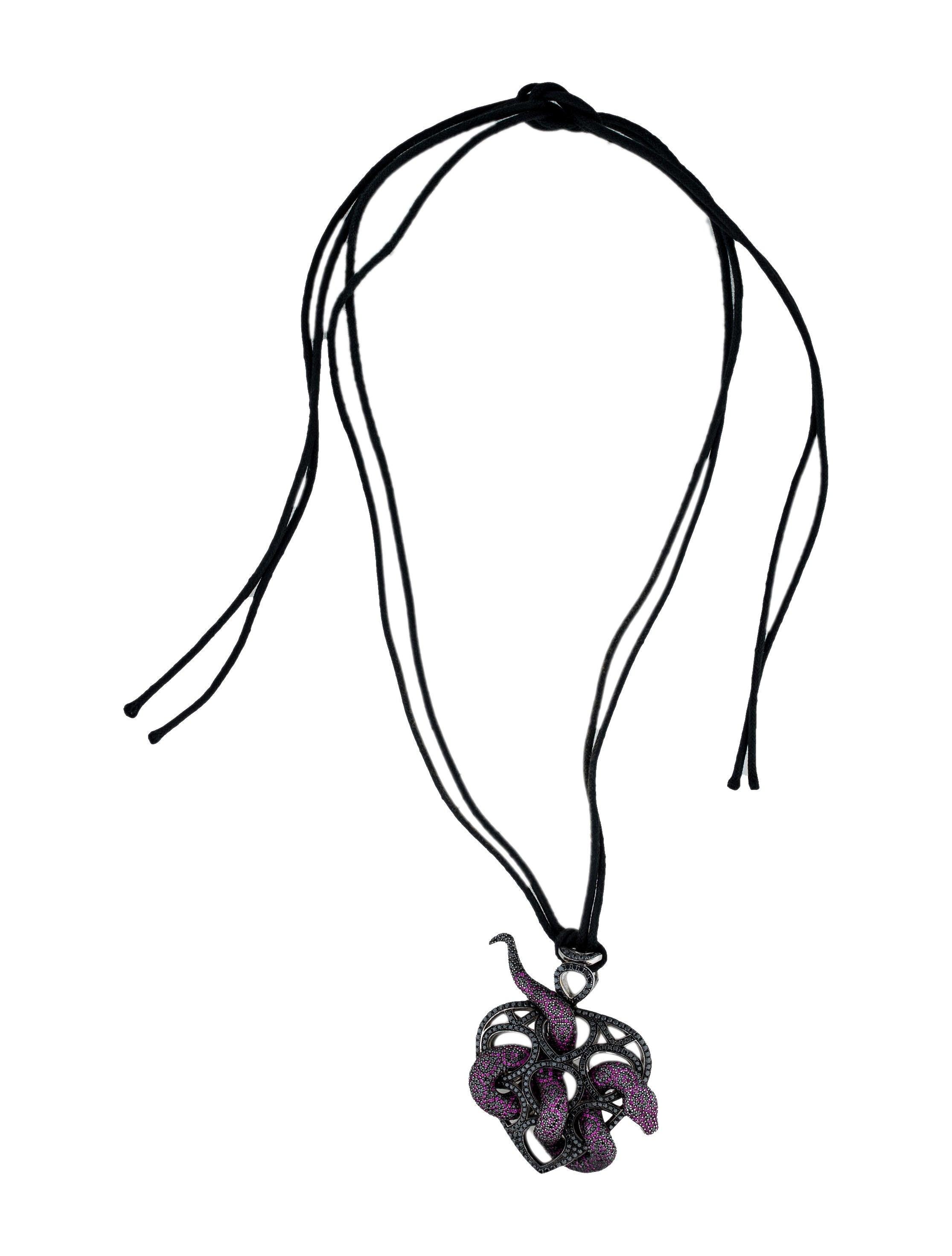 Theo Fennell 18K Ruby & Black Diamond Snake Pendant Necklace