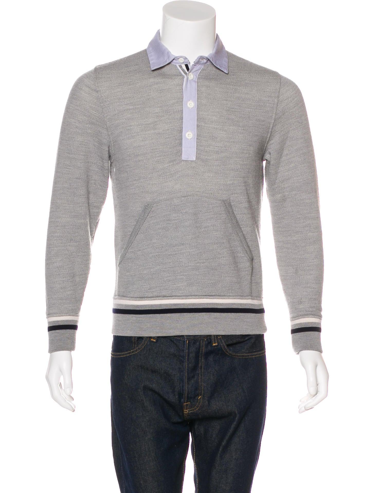Thom grey wool long sleeve polo clothing thg20014 for Long sleeve wool polo shirts