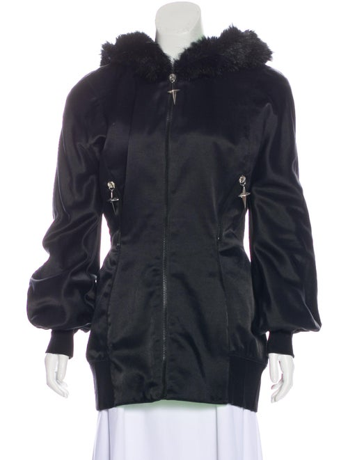 Thierry Mugler Hooded Zip-Up Jacket Black