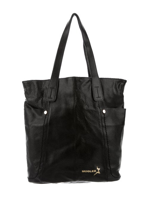 Thierry Mugler Leather Tote Bag Black