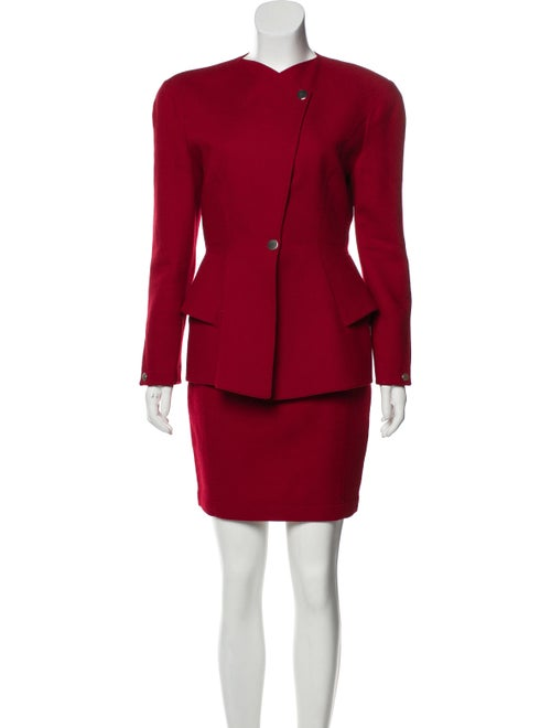 Thierry Mugler Wool Skirt Suit Red