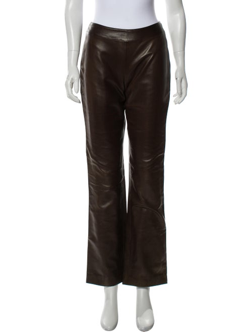 Thierry Mugler Leather Straight-Leg Pants Brown