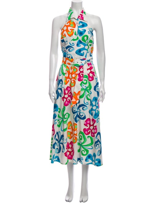 Thierry Mugler Printed Long Dress White