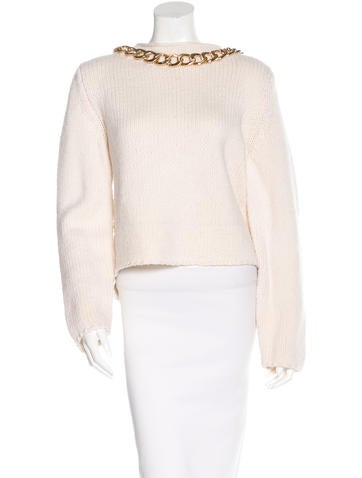 Thomas Wylde Cashmere Chain-Accented Sweater