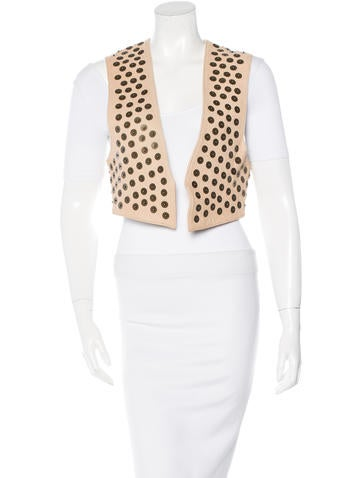 Stud-Accented Leather Vest