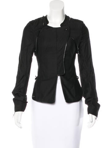 Thomas Wylde Woven Leather-Trimmed Jacket w/ Tags