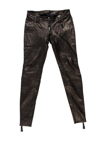 Thomas Wylde Leather Embossed Pants